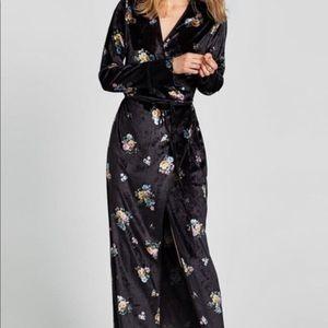 Zara Floral Velvet Wrap Maxi Dress Small